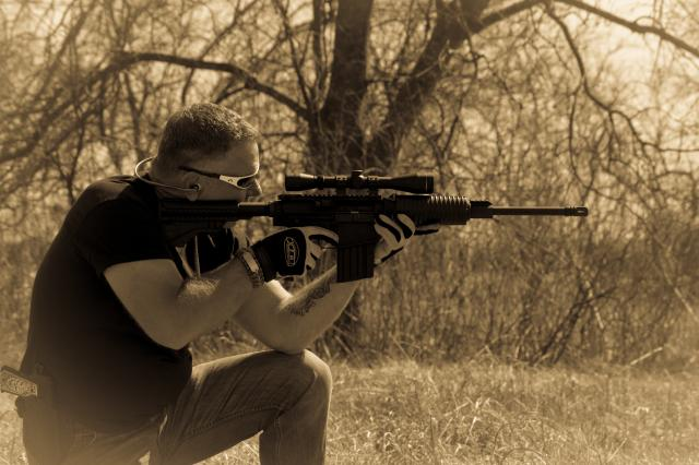Patrick James Shooting His AR