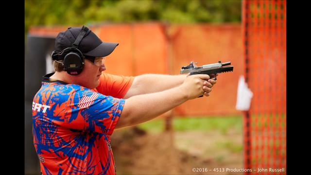 James DeLambert shooting in USPSA competition. Image Source: James DeLambert Facebook Page.