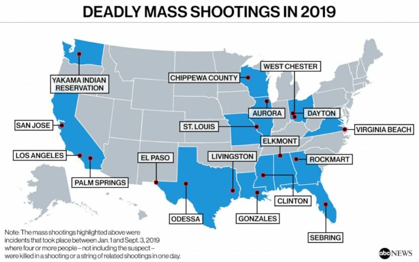 Map of Deadly Mass Shootings in 2019